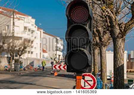 Temporary  Red Traffic Light Road Works