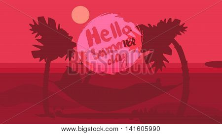 Hello Summer Lettering by brush. Typographic vacation and travel watercolor tropical poster with sunset bright background and palm exotic island. Sunset. Vector