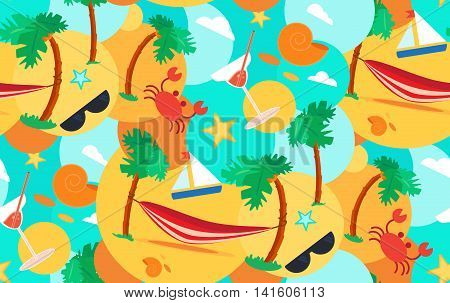 Hello Summer Seamless Pattern with hammock, crab, stars and cocktail on palm beach. Vacation and travel exotic tropical ornament for print, clothes, t-shirt, fabric, wrap, wallpaper. Vector
