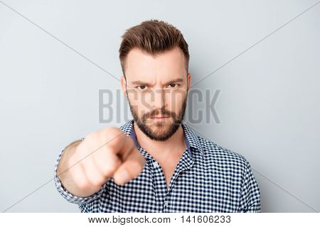 Strict Bearded Man Gesturing With Finger And Choosing You