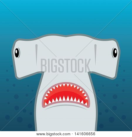 hammerhead shark with open mouth. isolated on a blue background. Flat vector illustration