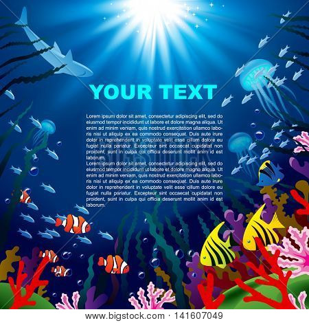 Underwater world square background of tropical sea with coral reefs, fishes and bright beams of sunlight. Vector illustration