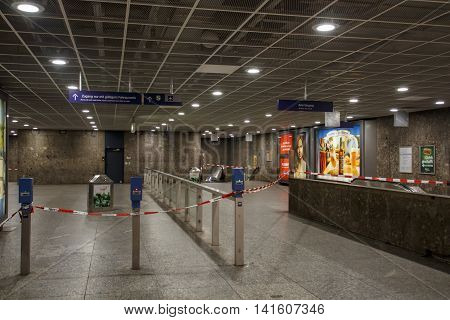 MUNICH, GERMANY - AUGUST 29, 2015: The metro station at Karlsplatz (Stachus) in Munich was closed due to an unknown reason and barrier tape of the police is blocking the entrance