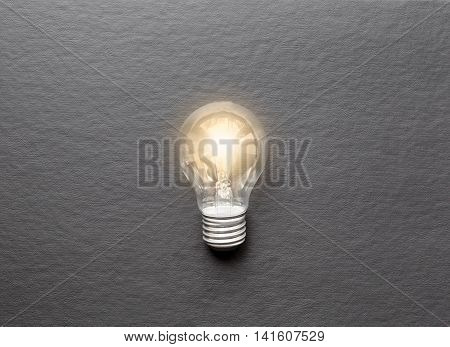 concept of idea illustration lit lamp close up