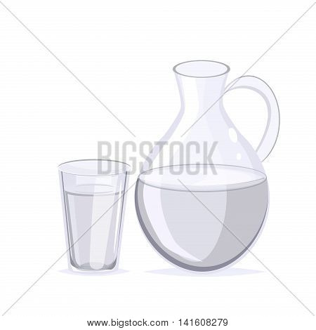Drinking water concept, glass of water. Fresh clear transparent healthy water glass. Purity cup water glass healthy cold liquid. Drink clear liquid water jug. Nature health beverage glass jug vector.