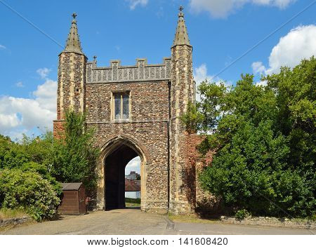 COLCHESTER, ESSEX, ENGLAND - AUGUST 06, 2016:  St John's Abbey Gate all that remains of a  Beneditine Abbey at Colchester.