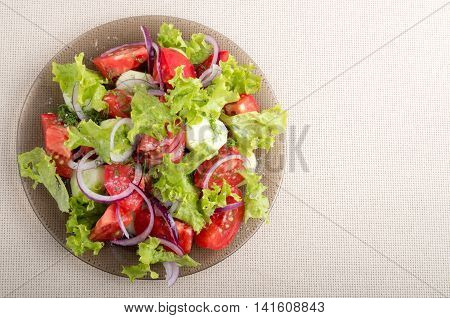Top View Of A Plate Of Vegetable Salad