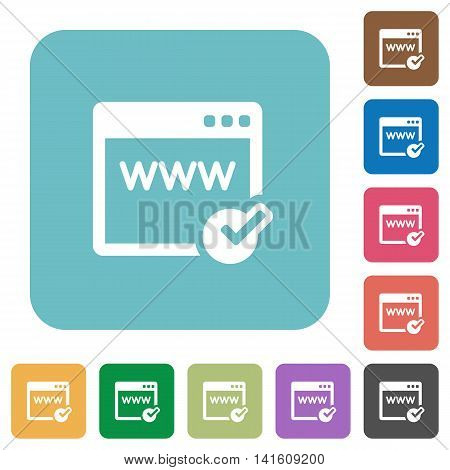 Flat domain registration icons on rounded square color backgrounds.
