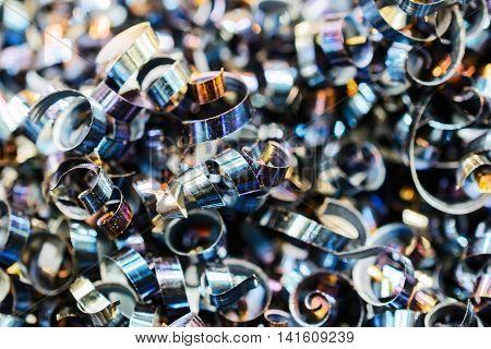 Steel Metal Shavings. Industrial Abstract Background.