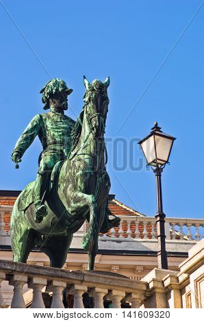 Statue of emperor Franz Joseph of Austria on a horse at downtown of Vienna, Austria