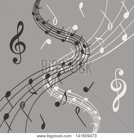 Stylish illustration of music notes on grey background  for slogan, poster,  flier or etc. Vector can be used with any image or text. Square location.