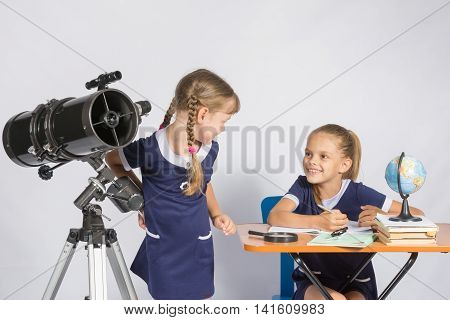 The Two Girls Looked At Each Other In The Classroom Astronomy