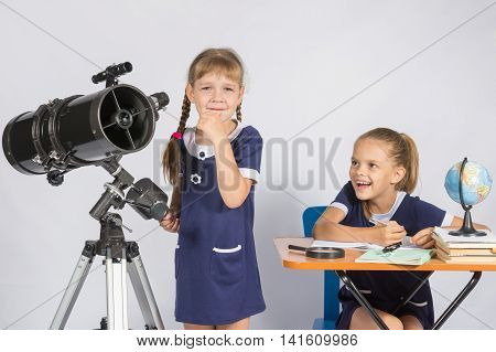 Girl Astronomer Thought, Another Girl With A Smile Looking At Her