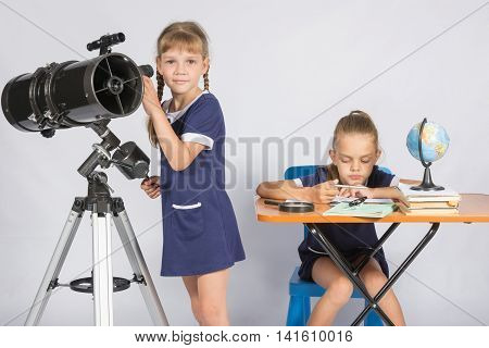 Girl Watches In The Telescope, The Other Girl Is Waiting For The Results Of Observations