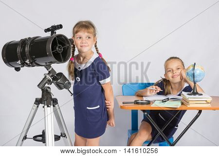 Girl Astronomer Looks At The Sky, The Other Girl Sitting Happily At The Table