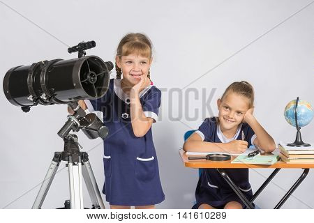 The Two girls a mysteriously astronomers thinking