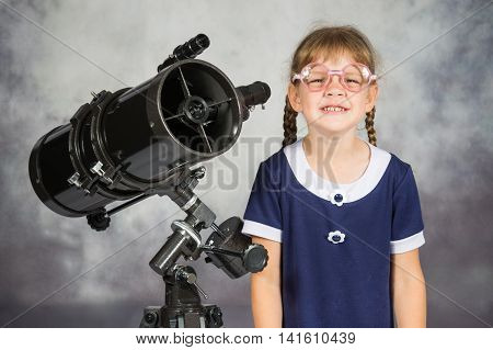 Girl Bespectacled Amateur Astronomer Funny Smiling Standing By Telescope