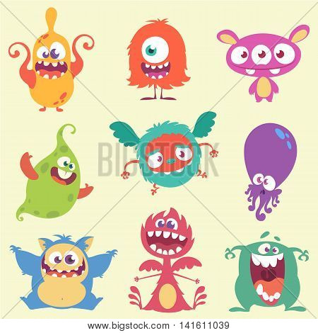 Cute cartoon monsters and alien character icons set. Halloween vector illustration