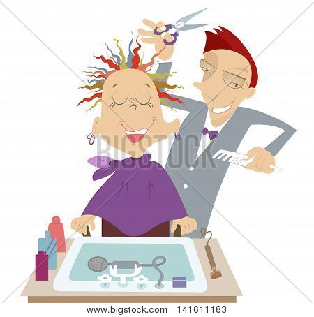 Hairdresser. Funny cartoon hairdresser makes to woman a stylish haircut