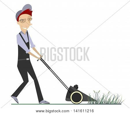 Lawnmower illustration. Comic lawnmower mows the lawn
