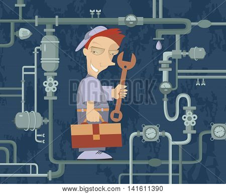 Mechanic Illustration. Comic mechanic repairs pipe construction