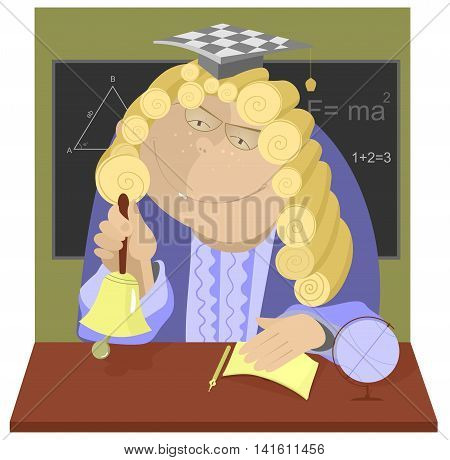 Professor. Teacher in a wig rings the bell