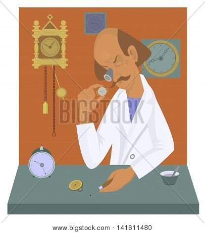 Watchmaker illustration. Old watchmaker repairs a watch