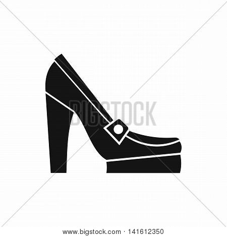 Women shoes on platform icon in simple style isolated on white background. Wear symbol