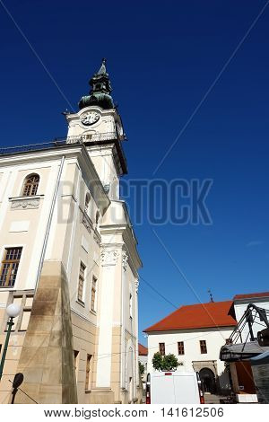 KEZMAROK SLOVAKIA - JULY 08 2016: Old historical building of town hall with tower in Kezmarok town High Tatras Slovakia.