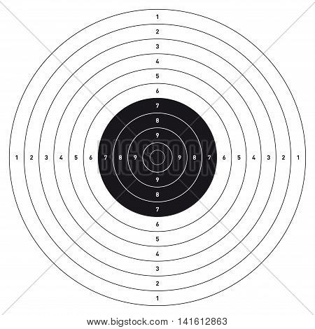 Bullseye shooting target. Professional. Size 54 x 54 cm, ready for print. 1 color (Black).