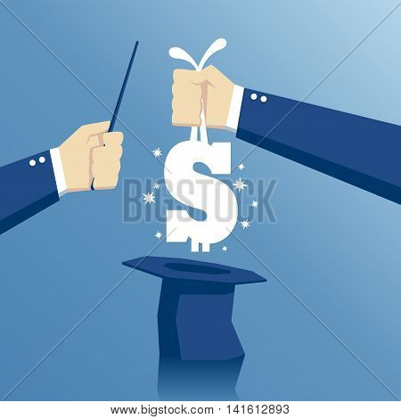 business concept success and fast money hand pulls money out of a hat hand with a magic wand