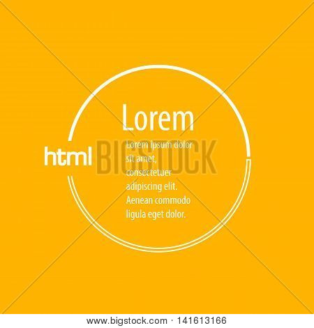 Modern web html colored icon background frame for digital app web sites. Round shape white yellow backdrop