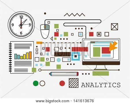 Analytics. line flat vector illustration on background