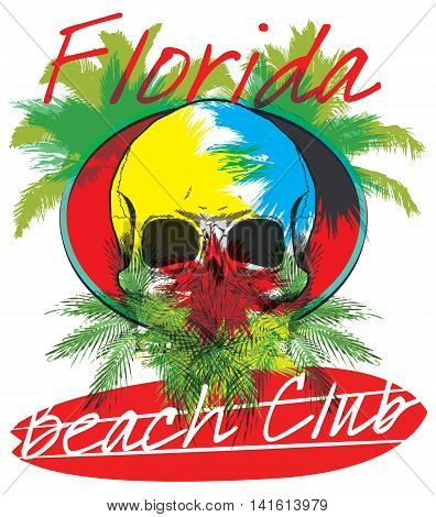 Florida beach Surf club concept Vector Summer surfing retro badge. Surfer club emblem; outdoors banner; vintage background