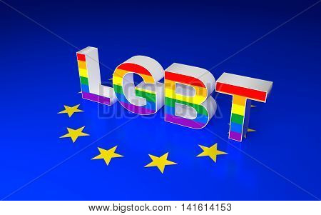 Illustration of LGBT sign and Europe Union flag. 3D rendering.