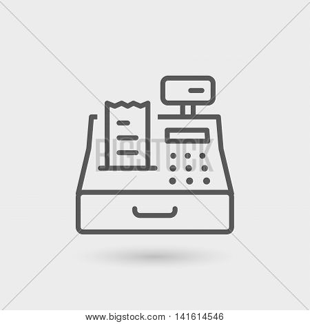 cash register icon isolated. gray color with shadow