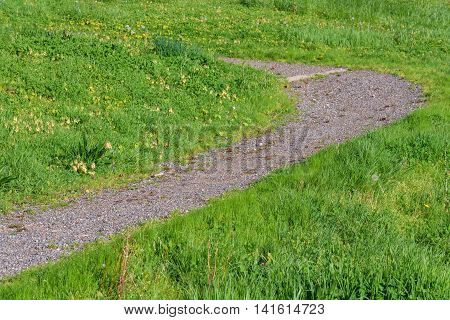 Curved gravel path on a grassy hillside