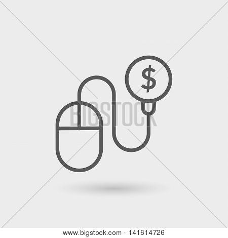 pay per click icon isolated. gray color with shadow