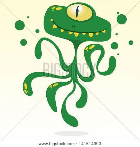 Happy cartoon octopus. Vector Halloween green monster with one eye and tentacles isolated