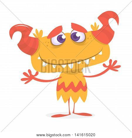 Happy orange monster. Vector Halloween horned monster character mascot