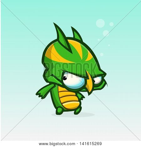 Vector cartoon slimy green and yellow monster. Halloween vector monster character isolated