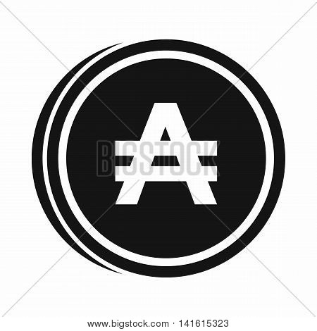 Coin austral icon in simple style isolated on white background. Monetary currency symbol