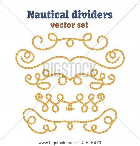 Nautical ropes. Dividers set. Decorative vector knots. Ornamental decor elements with rope. Isolated design.