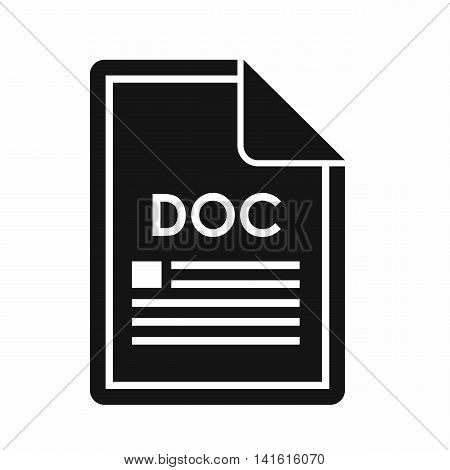File DOC icon in simple style isolated on white background. Document type symbol