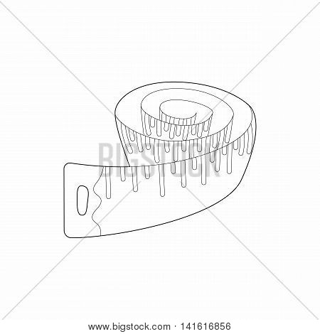 Measuring tape icon in outline style isolated on white background. Measurement symbol