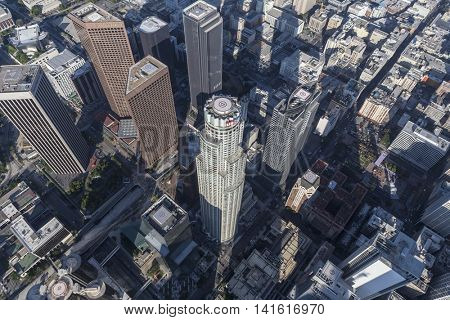 Los Angeles, California, USA - August 6, 2016:  Afternoon aerial of US Bank and other prominent towers in downtown Los Angeles.