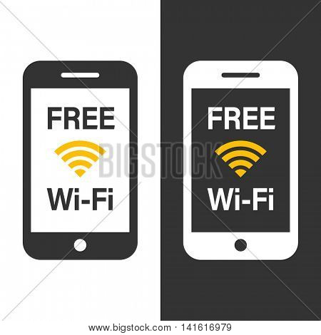 Free wifi icon sticker in shpe of mobile phone. Vector wireless hotspot signal symbol on smartphone tag