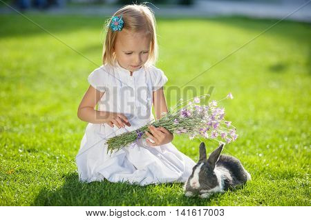 Little girl sitting on green grass and playing with rabbit