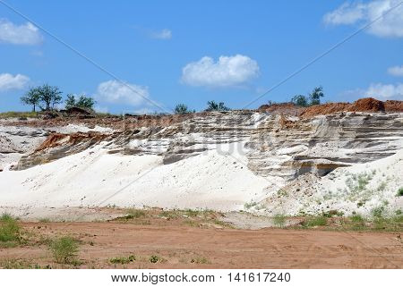 Industrial working out of white forming sand in an open-cast mine