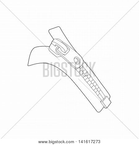 Zipper with lock icon in outline style isolated on white background. Sewing symbol